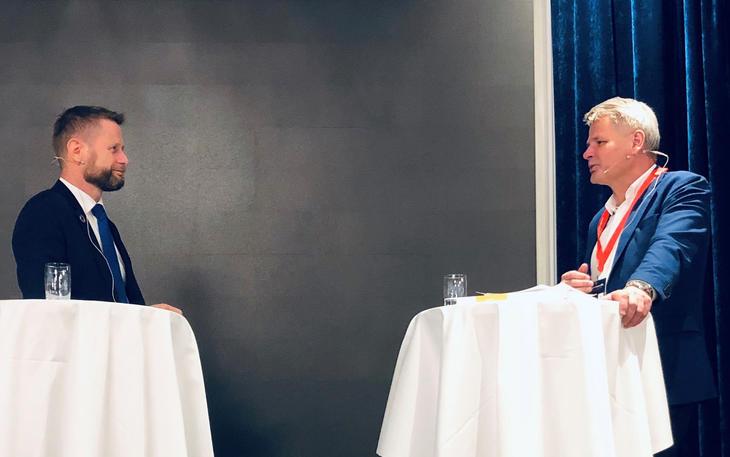Helseminister Bent Høie og leder i Fagrådet Jan Gunnar Skoftedalen, januar 2020.