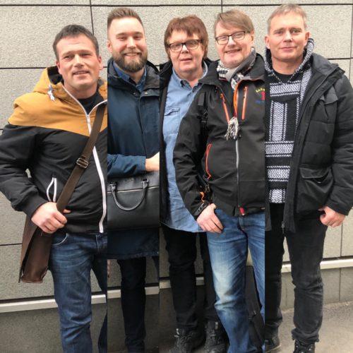 Representanter fra bruker- og pårørendeorganisasjonene etter møtet med helseministeren i februar 2019. (Fra venstre Ronny Bjørnestad, Marius Sjømæling, Tommy Sjåfjell, Vidar Hårvik og Arild Knutsen