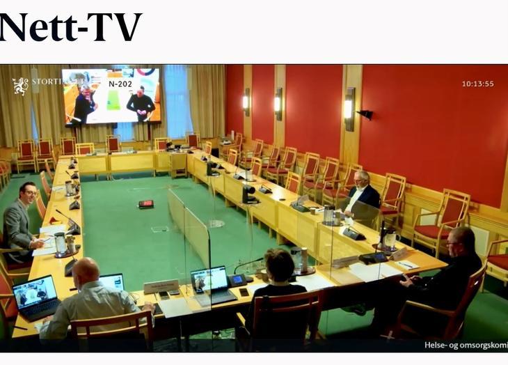 Leder Jan Gunnar Skoftedalen og styreleder Anders Dalsaune Jansen deltok på digital muntlig høring i Stortingets Helse- og omsorgskomité 12. januar.