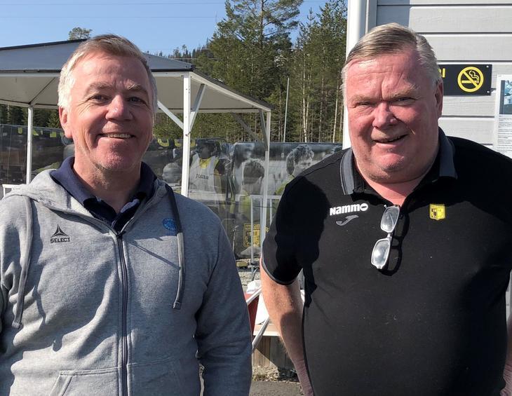 Daglig leder i Fotballstiftelsen Arne Knoph og styreleder og ildsjel i Raufoss fotball Asgeir Sveen.